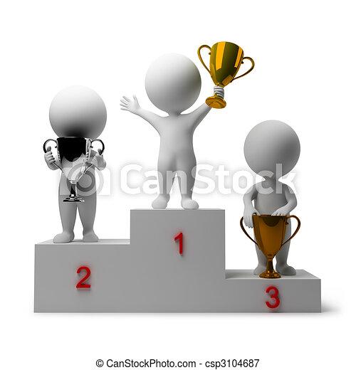 gens, -, récompenser, vainqueurs, petit, 3d - csp3104687