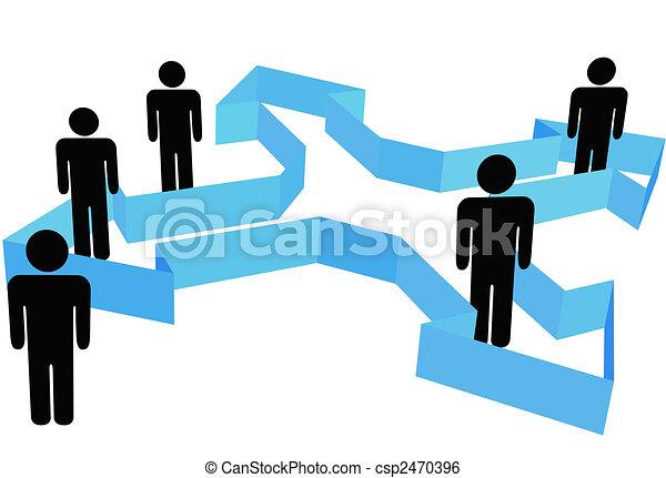 gens, symbole, point, flèches, organisation, directions, nouveau - csp2470396