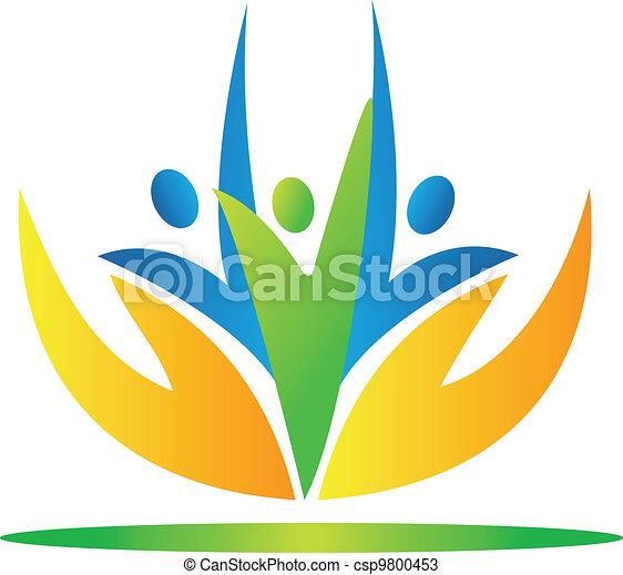 gens, vecto, prendre, mains, logo, soin - csp9800453