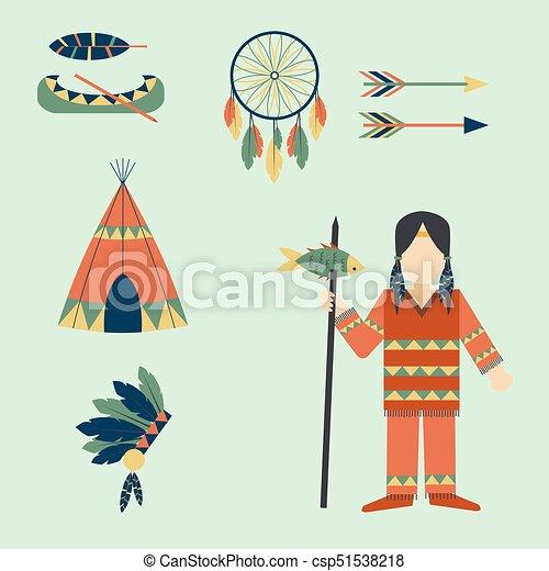 gens, vendange, indiens, ornement, illustration, élément, vecteur, retro, ethnique, hindouisme, outils, temple, icône - csp51538218