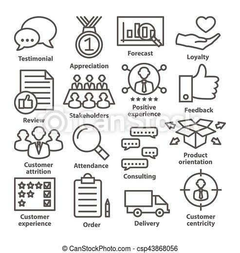 gestion, icones affaires, 26., ligne, style., meute - csp43868056