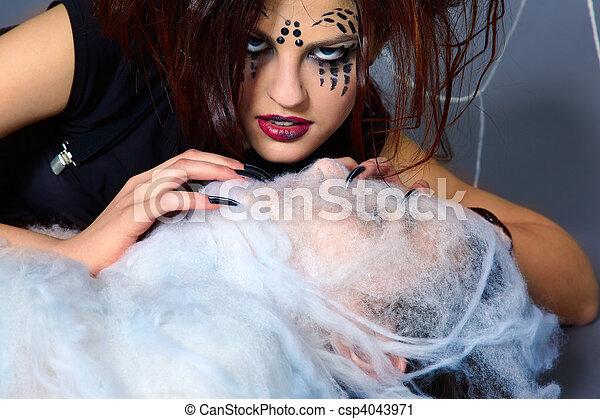 girl, araignés, victime - csp4043971