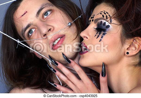 girl, araignés, victime - csp4043925