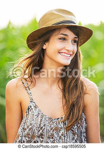 girl, beau, portrait, insouciant, heureux - csp18595505