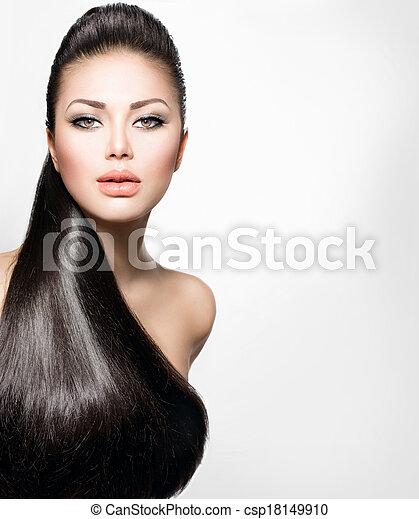 girl, cheveux façonnent, modèle, sain, long, directement - csp18149910