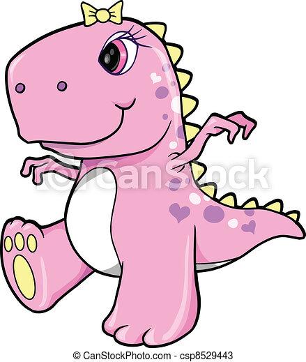 girl, dinosaure, mignon, rose, t-rex - csp8529443