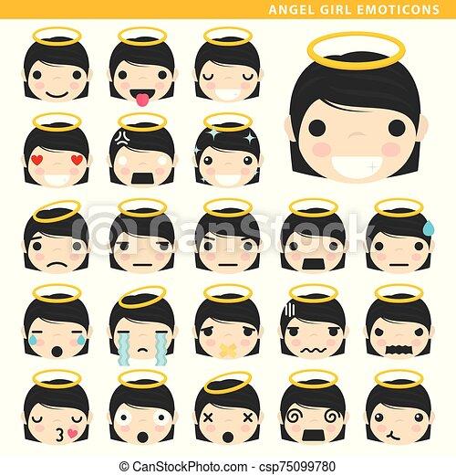 girl, emoticons, ange - csp75099780