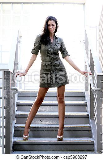 girl, escalier - csp5908297