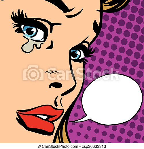 girl, gros plan, pleurer, figure - csp36633313