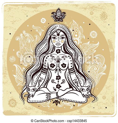 girl, méditation - csp14433845