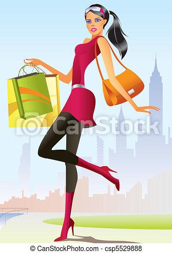 girl, mode, achats - csp5529888