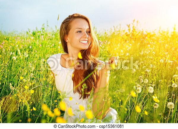 girl, nature., gratuite, outdoor., jouir de, allergie, meadow., beau - csp15361081