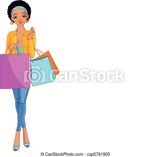 girl, sacs, africaine, achats - csp5761905