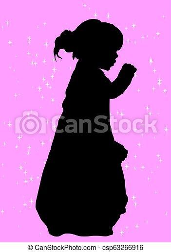 girl, silhouette - csp63266916
