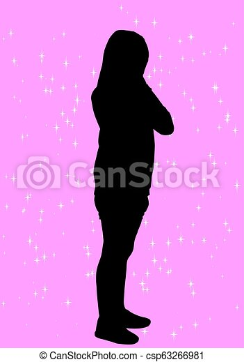 girl, silhouette - csp63266981