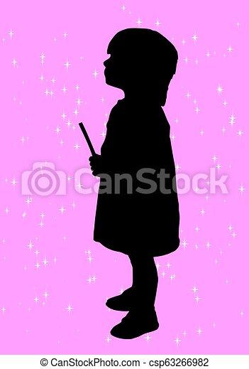 girl, silhouette - csp63266982