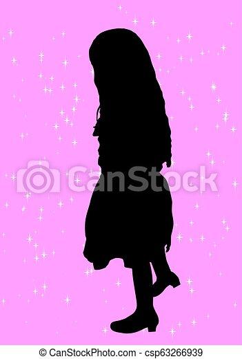 girl, silhouette - csp63266939