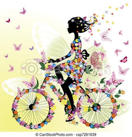 girl, vélo, romantique - csp7261639