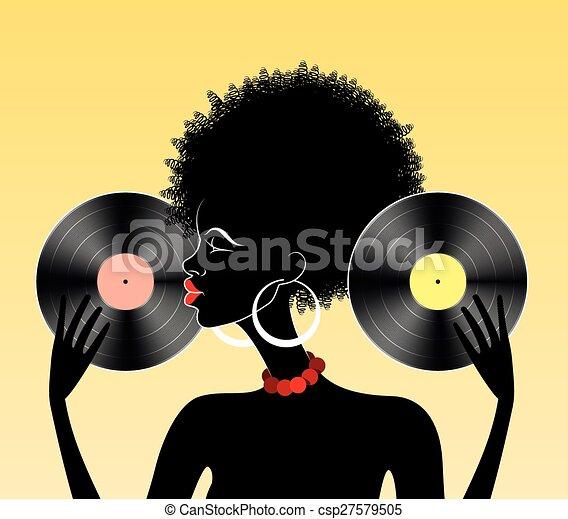 girl, vinyle, africaine - csp27579505