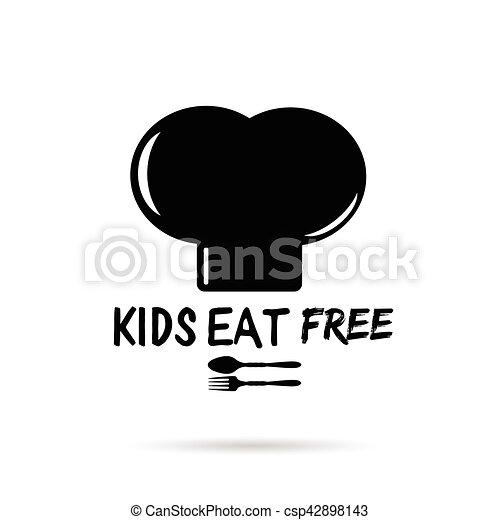 gosses, cuisine, illustration, noir, gratuite, chapeau blanc, manger - csp42898143