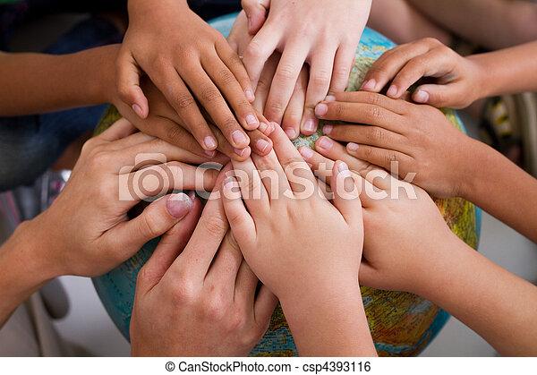 gosses, diversité, ensemble, mains - csp4393116