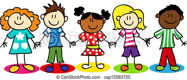 gosses, diversité, figure bâton, ethnique - csp15583725