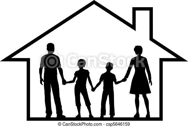 gosses, famille, maison, intérieur, sûr, parents, maison - csp5646159