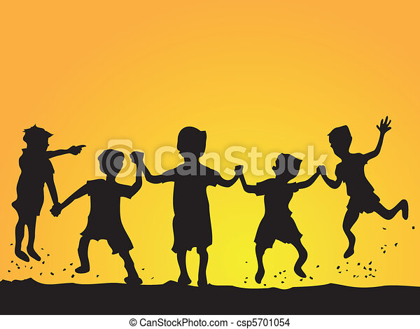 gosses, silhouette, jouer - csp5701054