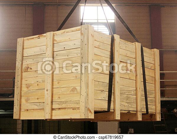 grand, boîte bois, expédition - csp67819657