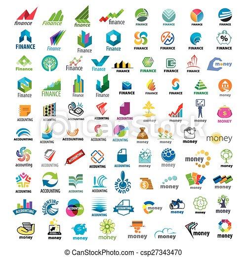 grand, logos, ensemble, finance, vecteur - csp27343470