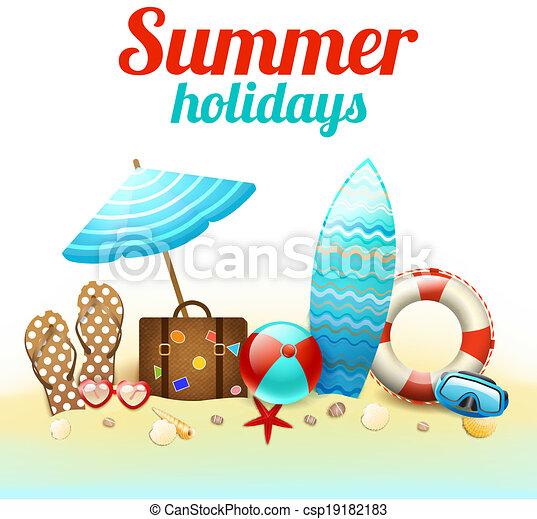 grandes vacances, fond, affiche - csp19182183