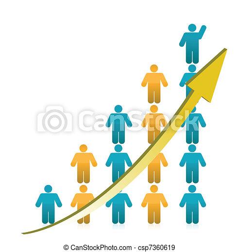 graphique, projection, croissance, gens - csp7360619