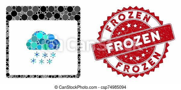 gratté, calendrier, neige, nuage, surgelé, page, timbre, collage - csp74985094