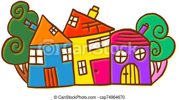 griffonnage, bizarre, coloré, rue - csp74964670