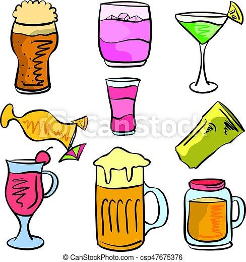 griffonnage, boisson, ensemble, divers - csp47675376
