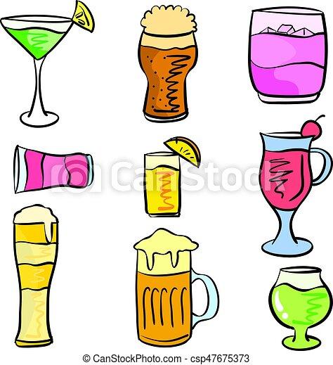 griffonnage, ensemble, divers, collection, boisson - csp47675373