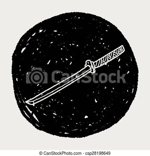griffonnage, japonaise, couteau - csp28198649