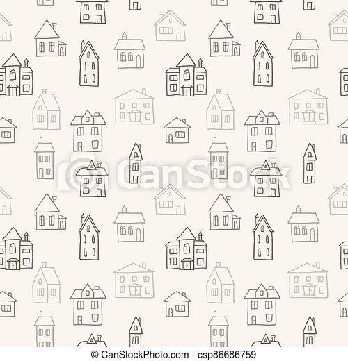 griffonnage, village, modèle - csp86686759