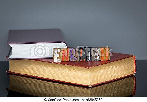 gris, lettres, coloré, bois, fond, anglaise, mot - csp62845069