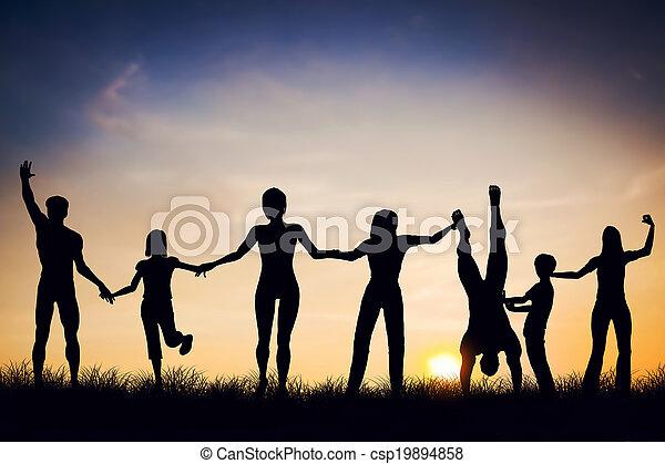 groupe, famille, gens, amis, ensemble, amusement, avoir, heureux - csp19894858