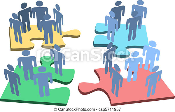 groupe, gens, puzzle, solution, morceaux, humain, organisation - csp5711957