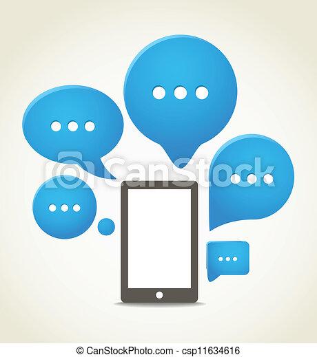 groupe, mobile, moderne, téléphone, parole, nuages - csp11634616