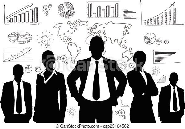 groupe, professionnels, graphique, noir, silhouette - csp23104562