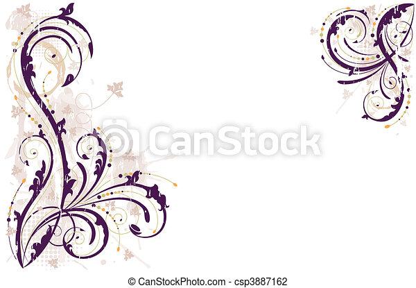grunge, fond, vecteur, floral - csp3887162