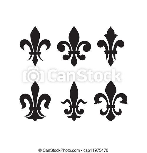 héraldique, de, symbole, fleur, lis - csp11975470