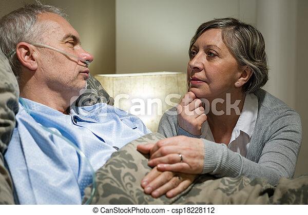 hôpital, inquiété, patient, personne agee, épouse - csp18228112