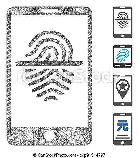 hachuré, maille, vecteur, prend empreintes digitales dispositif balayage, smartphone - csp91314797