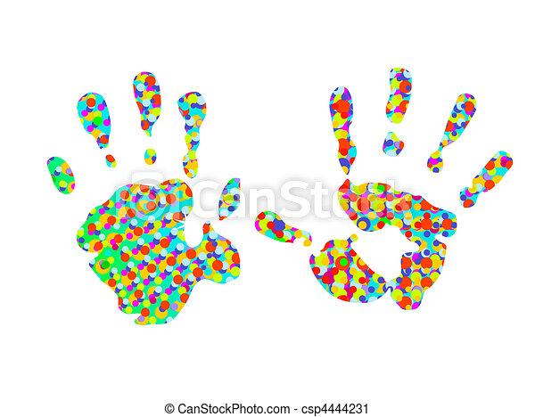hand-prints, deux, coloré - csp4444231