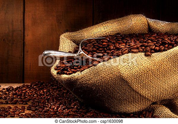 haricots, café, burlap sac - csp1630098