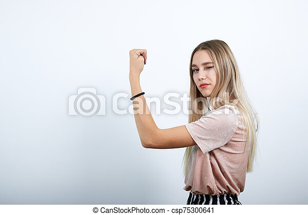 haut, caucasien, garder, geste, jeune, séduisant, femme, oui, poing - csp75300641
